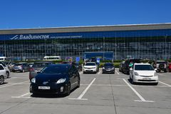 Vladivostok, Russia, July, 30,2018. Cars near of the airport Knevichi in Vladivostok in sunnny day. Vladivostok, Russia. Cars near of the airport Knevichi in royalty free stock images