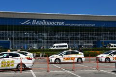 Vladivostok, Russia, July, 30,2018. Cars near of the airport Knevichi in Vladivostok in sunnny day. Vladivostok, Russia. Cars near of the airport Knevichi in stock photography