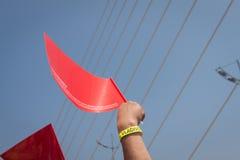 VLADIVOSTOK, RUSSIA - JULY 7: Flash-mob I love Vladivostok on the Golden Bridge. Stock Photography