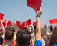 VLADIVOSTOK, RUSSIA - JULY 7: Flash-mob I love Vladivostok on the Golden Bridge. Stock Photo
