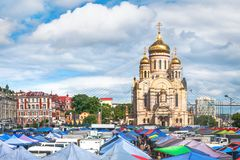 Agricultural fair on the central square of the Far Eastern city of Vladivostok. VLADIVOSTOK, RUSSIA - JUNE 21, 2019: Agricultural fair on the central square of stock images