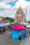Agricultural fair on the central square of the Far Eastern city of Vladivostok. VLADIVOSTOK, RUSSIA - JUNE 21, 2019: Agricultural fair on the central square of royalty free stock photos
