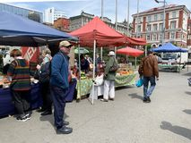 Vladivostok, Russia, May, 25, 2019. Food fair in the central square of Vladivostok - the square of the Fighters for the power of t. Vladivostok, Russia. Food royalty free stock photos