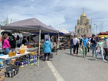 Vladivostok, Russia, May, 25, 2019. Food fair in the central square of Vladivostok - the square of the Fighters for the power of t. Vladivostok, Russia. Food stock photography