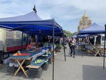 Vladivostok, Russia, May, 25, 2019. Food fair in the central square of Vladivostok - the square of the Fighters for the power of t. Vladivostok, Russia. Food stock photos