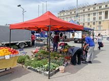 Vladivostok, Russia, May, 25, 2019. Food fair in the central square of Vladivostok - the square of the Fighters for the power of t. Vladivostok, Russia. Food royalty free stock images
