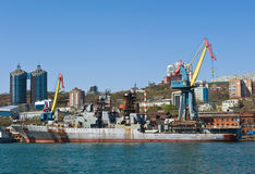 Vladivostok, Russia- May 02, 2017: Large anti-submarine ship Marshal Shaposhnikov stands at the pier for repairs. Stock Image
