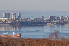 There is the island  Russian in Vladivostok without snow in the winter royalty free stock photos