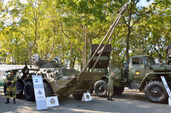 Vladivostok, Russia, October, 11, 2015.  Armoured repair recovery vehicle BREM-K and fighting vehicle MLRS Tornado-G Stock Photography