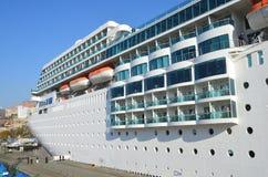 Vladivostok, Russia, October, 25, 2017. Fragment of Cruise ship Costa Romantica docked in Vladivostok. Vladivostok, Russia, fragment of Cruise ship Costa Royalty Free Stock Photo