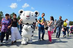 Vladivostok, Russia, September, 10, 2017. Mascot of Winter Olympic games 2018 in Seoul, the white tiger on the promenade, FEFU, Vl stock image