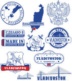 Vladivostok, Russia. Set of stamps and signs Stock Photography