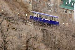Vladivostok/Ryssland - 04 02 2018: Bergbana i Vladivostok royaltyfri fotografi
