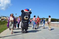 Vladivostok Ryssland, September, 10, 2017 Maskot av den Paralympic vintern spelar 2018 i Seoul den asiatiska svarta björnen som n Fotografering för Bildbyråer
