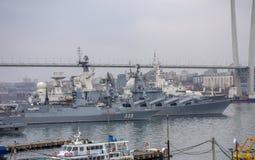 Vladivostok: Skepp i den guld- horn- fjärden royaltyfri foto