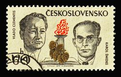 Vlado Clementis and Karol Smidke, Fighters against Nazism and fa. MOSCOW, RUSSIA - AUGUST 18, 2018: A stamp printed in Czechoslovakia shows Vlado Clementis and vector illustration