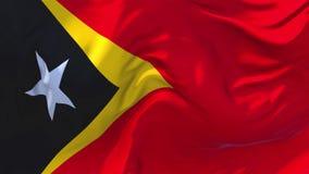 Vlag die de Oost- van Timor op Achtergrond van de Wind de Ononderbroken Naadloze Lijn golven stock footage