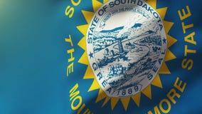 Vlag die de Zuid- van Dakota in de wind golven Van een lus voorziende zon vector illustratie