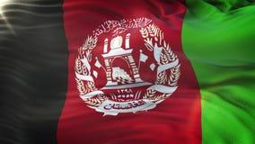 Vlag die van Afghanistan op zon golven Naadloze lijn met hoogst gedetailleerde stoffentextuur Lijn klaar in 4k resolutie stock videobeelden