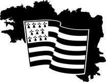 Vlag die van die Bretagne op wind golven op witte achtergrond wordt geïsoleerd Royalty-vrije Stock Fotografie