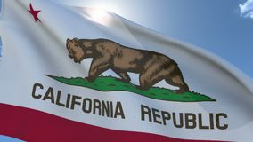 Vlag die van Californië in de wind golft stock footage