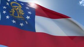 Vlag die van Georgië in de wind golven stock videobeelden