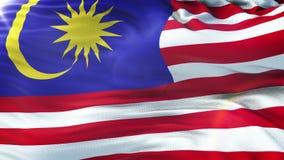 Vlag die van Maleisië op zon golven Naadloze lijn met hoogst gedetailleerde stoffentextuur Lijn klaar in 4k resolutie royalty-vrije illustratie