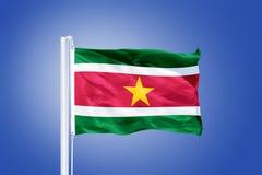 Vlag die van Suriname tegen een blauwe hemel vliegen Stock Fotografie