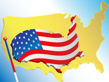 Vlag en kaart de V.S. Royalty-vrije Stock Afbeeldingen