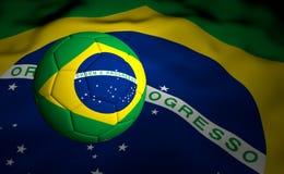 Vlag en Voetbalbal Brazilië 2014 Stock Foto's