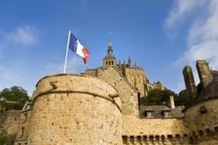 Vlag in Le Mon Sant Michel Stock Fotografie