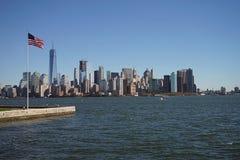 Vlag met de Stad Manhattan de V.S. van Horizonnew york Stock Afbeeldingen