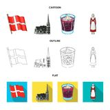 Vlag, nationaal, symbool, en ander Webpictogram in beeldverhaal, overzicht, vlakke stijl Denemarken, geschiedenis, toerisme, pict Stock Foto