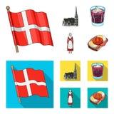 Vlag, nationaal, symbool, en ander Webpictogram in beeldverhaal, vlakke stijl Denemarken, geschiedenis, toerisme, pictogrammen in Royalty-vrije Stock Afbeeldingen