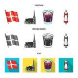 Vlag, nationaal, symbool, en ander Webpictogram in beeldverhaal, vlakke, zwart-wit stijl Denemarken, geschiedenis, toerisme, pict Royalty-vrije Stock Fotografie