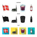 Vlag, nationaal, symbool, en ander Webpictogram in beeldverhaal, zwarte, vlakke stijl Denemarken, geschiedenis, toerisme, pictogr Royalty-vrije Stock Afbeelding