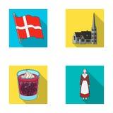 Vlag, nationaal, symbool, en ander Webpictogram in vlakke stijl Denemarken, geschiedenis, toerisme, pictogrammen in vastgestelde  Stock Fotografie