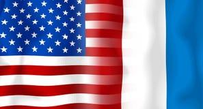 Vlag V.S.-Frankrijk Royalty-vrije Stock Foto