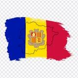 Vlag van Andorra van kwaststreken en Lege kaart Andorra Hoog - het Prinsdom van de kwaliteitskaart van Andorra en vlag op transpa stock illustratie