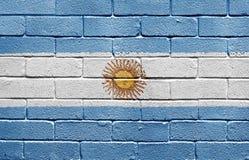 Vlag van Argentinië op bakstenen muur Stock Afbeelding