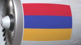 Vlag van Armenië op de motor van de lijnvliegtuigturbine De luchtvaart bracht 3D animatie met elkaar in verband stock illustratie