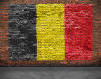 Vlag van België en grond stock afbeelding