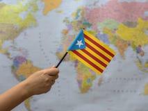 Vlag van Catalonië van de wereldkaart Stock Foto's