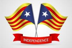 Vlag van Catalonië met een rood lintreferendum op de onafhankelijkheid van van Achtergrond Catalonië Vector vector illustratie