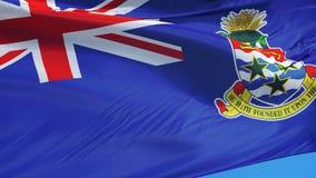 Vlag van Caymaneilanden in langzame motie voorzag foutloos met alpha- van een lus stock video