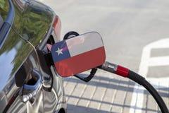 Vlag van Chili op de de vullerklep van de auto` s brandstof royalty-vrije stock foto's