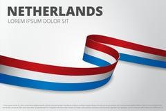 Vlag van de achtergrond van Nederland Nederlands lint Het ontwerp van de kaartlay-out Vector illustratie royalty-vrije illustratie