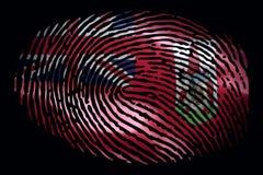 Vlag van de Bermudas in de vorm van een vingerafdruk op een zwarte achtergrond stock foto's
