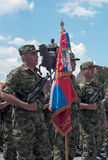Vlag van de Derde Brigade van Servisch Leger Stock Foto