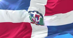 Vlag van de Dominicaanse Republiek die bij wind in langzaam, lijn golven stock videobeelden